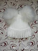 Зимняя шапка на девочку на завязках р. 50