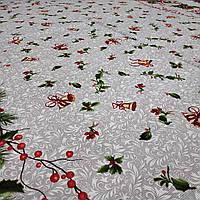 Ткань новогодняя для скатерти рогожка Рождественник 150 см (198551)