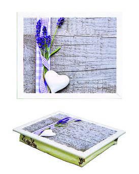 Поднос на подушке BST 44*36 белый  декор с лавандой