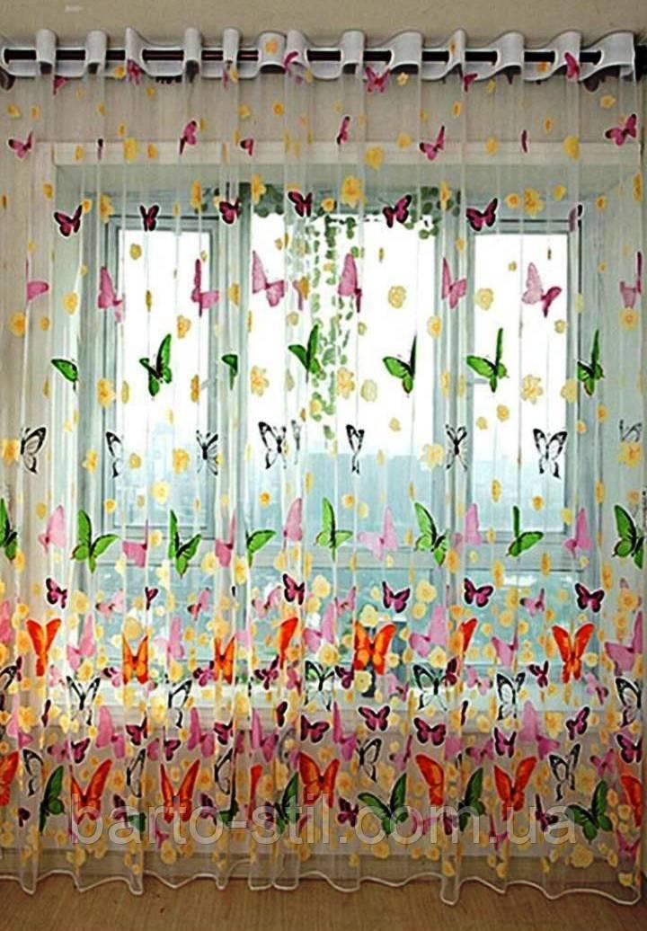 """Тюль белого цвета с рисунком """"Бабочки"""" высота 2.8 м. на метраж и опт"""