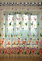 """Тюль белого цвета с рисунком """"Бабочки"""" высота 2.8 м. на метраж и опт, фото 1"""