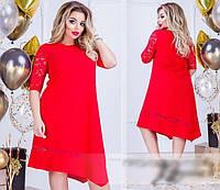 Асиметричне плаття з гипюровыми вставками, з 50 по 64 розмір, фото 1