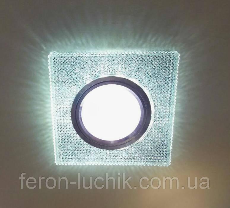 Світильник точковий з LED підсвічуванням вбудовуваний квадратний 17011S
