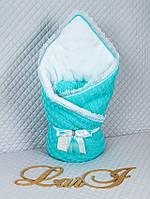 """Акция! Конверт-одеяло на выписку """"Змейка"""" вязаный теплый на махре. Цвета в ассортименте"""