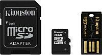 Карта памяти Kingston microSDHC/microSDXC Class 10 UHS-I SD adapter/USB reader 16Gb, фото 1