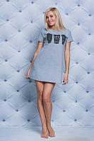 Ночная женская сорочка с печатью меланж
