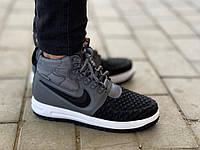 Мужские кроссовки осенние Nike Lunar Force 1 Duckboot Dark Grey Реплика