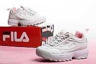 Женские кроссовки демисезонные FILA Disruptor White/Pink Реплика