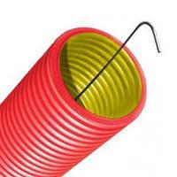 Труба 63мм двустенная красная ПНД с протяжкой гофрированная 20м DKC