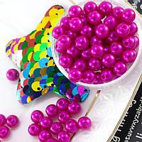 (20 грамм) Жемчуг пластик Ø6мм (прим. 170-180 бусин) Цвет - Малиновый
