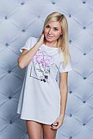 Ночная женская сорочка с печатью белая