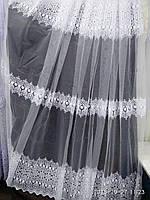 Тюль с лёгкой вышивкой рядами белого цвета на метраж и опт, фото 1