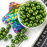 (20 грамм) Жемчуг бусины пластик Ø6мм (прим. 170-180 шт) Цвет - Зеленый