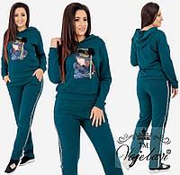 Женский спортивный костюм с аппликацией на кофте и репсовой лентой со  стразами на штанах 48, c8e43d181f0