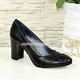 """Кожаные черные женские туфли на высоком устойчивом каблуке с плетением. ТМ """"Maestro"""", фото 2"""