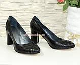 """Кожаные черные женские туфли на высоком устойчивом каблуке с плетением. ТМ """"Maestro"""", фото 3"""