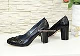 """Кожаные черные женские туфли на высоком устойчивом каблуке с плетением. ТМ """"Maestro"""", фото 4"""