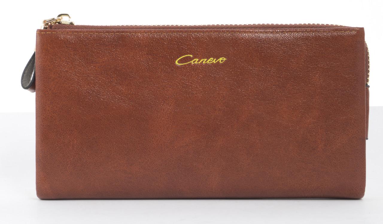 Стильный прочный удобный женский кошелек барсетка высокого качества Canevo art. J-7095 коричневый