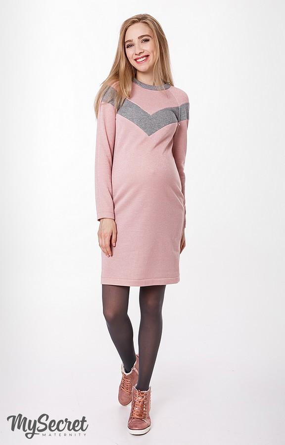 346b976a588 Теплое платье для беременных и кормящих BLANDO розовое