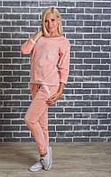 Женский велюровый костюм персик