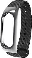 Ремешок UWatch Silicon Carbon Fiber Plastic Frame Replacement Wrist Band For Mi Band 2 Black