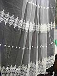 Воздушная тюль с лёгкой вышивкой рядами на метраж и опт, фото 2