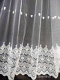 Воздушная тюль с лёгкой вышивкой рядами на метраж и опт, фото 3