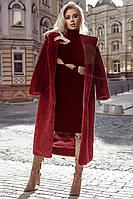 Модная женская шуба, цвета марсала с капюшоном S M L