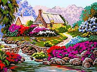 Рисование по номерам Тропинка среди цветов (VK097) 30 х 40 см DIY Babylon