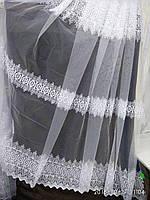 Белая воздушная тюль с лёгкой вышивкой рядами на метраж и опт, фото 1