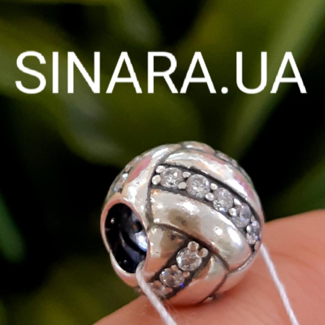 Шарм серебряный с фианитами - Серебряная бусина Пандора с серебром