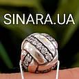 Шарм серебряный с фианитами - Серебряная бусина Пандора с серебром, фото 2