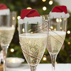 """Новогодний декор на бокалы """"Шапки"""" - в наборе 10шт., односторонние, размер одной шапочки 6*3,5см, картон"""