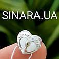 Шарм Сердце и Ножки Пандора серебро 925, фото 3