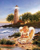 "Картина своими руками - рисование камнями ""Ангел у моря"""