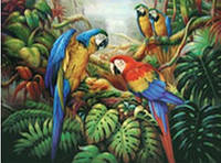 """Алмазная вышивка """"Разноцветные попугаи"""" (картина своими руками)"""