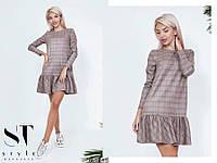 Интересное клетчатое платье с кокетливыми воланоми, фото 1