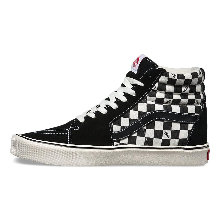 "Кеды Vans Checkerboard SK8-HI ""Black/White"" (Черные/Белые)"