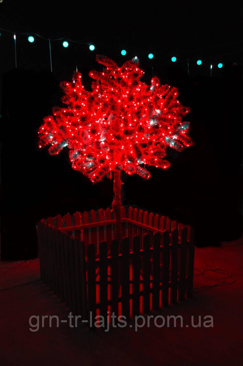 Светодиодное дерево ЯУ Сакура с деревяным забором