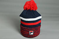 Мужская сине-красная шапка c помпоном Fila
