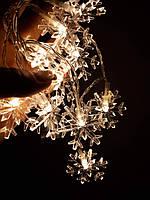 Гирлянда Снежинки LED акриловая, теплый свет,  10 светодиодов 1,1 м. 23121331 АА