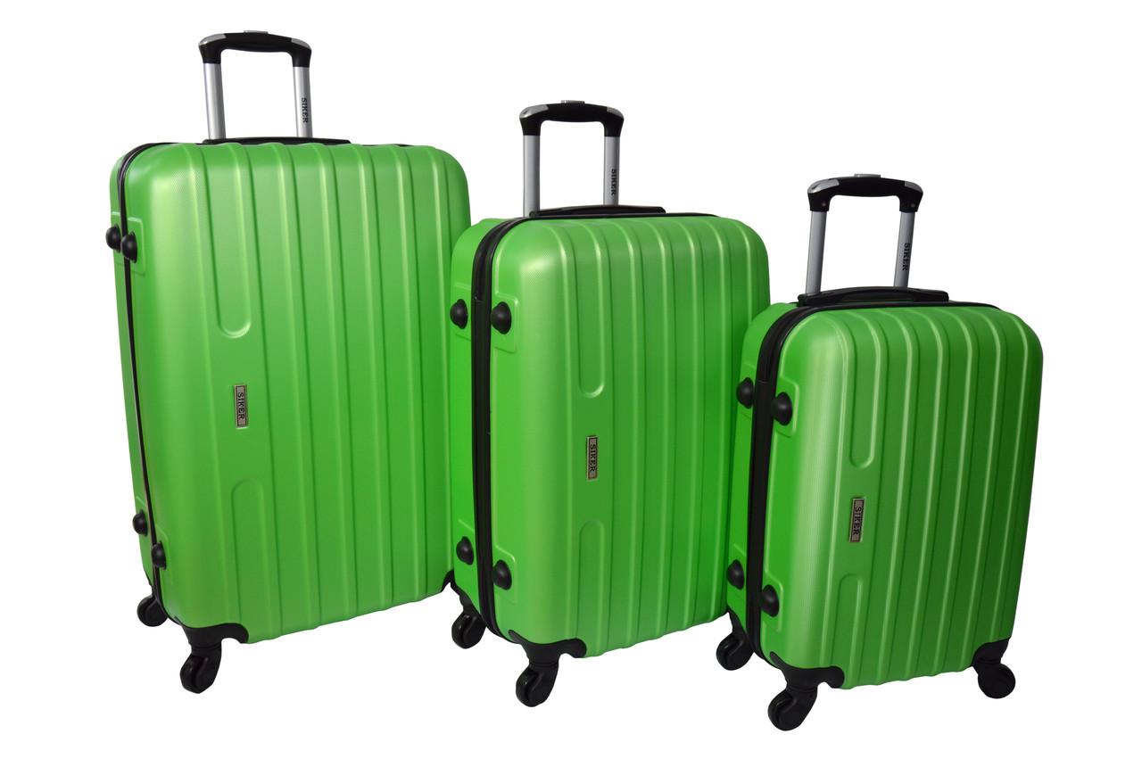 Комплект пластиковых дорожных чемоданов на колесах  Siker Line набор 3 штуки салатовый