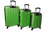 Комплект пластиковых дорожных чемоданов на колесах  Siker Line набор 3 штуки салатовый, фото 2