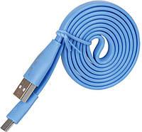 Кабель GOLF GC-03M Standard Flat Micro cable 1m Blue