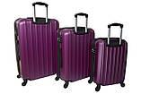 Комплект пластиковых дорожных чемоданов на колесах  Siker Line набор 3 штуки сиреневый, фото 2