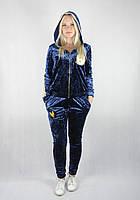 Женский спортивный велюровый костюм темно-синего цвета