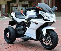 Детский электромобиль Мотоцикл M 3912 EL-1, 3-х колесный, Кожаное сиденье, EVA-резина, белый