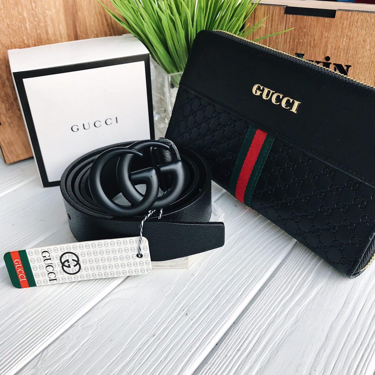 e06c03bf86ab Набор на подарок Мужской портмоне кошелёк брендовый и кожаный ремень  брендовый Gucci