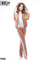 Женский утепленный костюм тройка шоколадный, фото 1