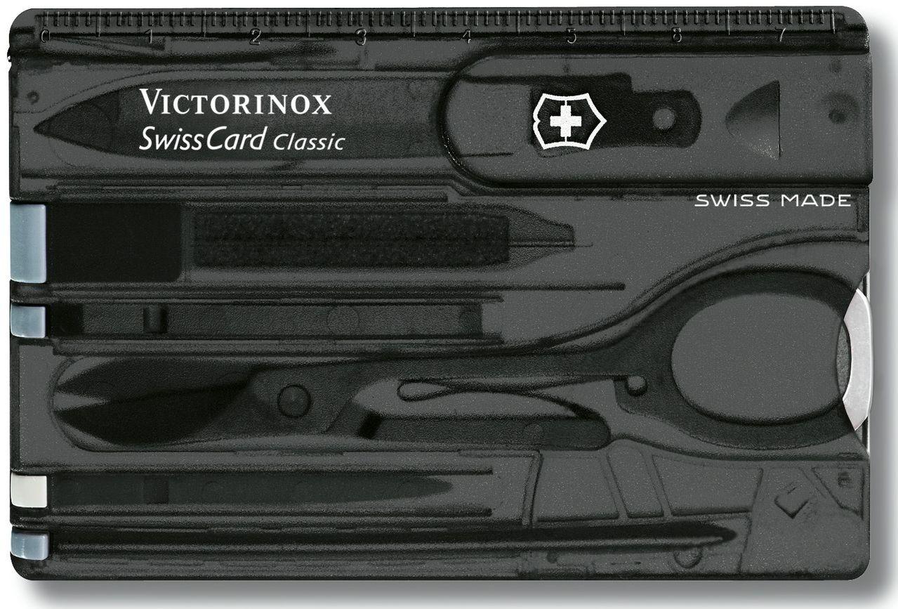 Черная, миниатюрная швейцарская карта-нож VICTORINOX Swisscard Classic 07133.T3